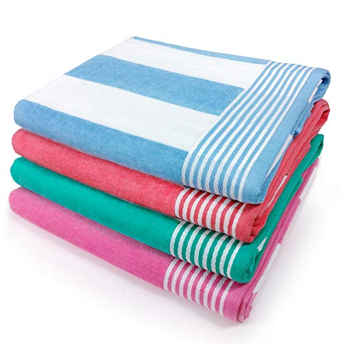 Kaufman - Velour Cabana Towels 4-Pack - 30in x 60in