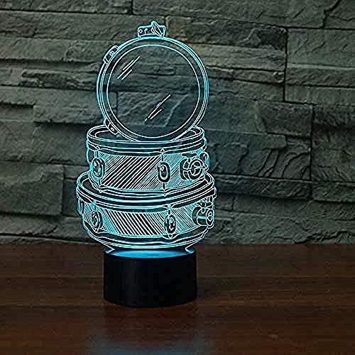 Luces De Ilusión 3D De La Noche Lámpara De Escritorio Caja De Maquillaje 7 Colores Touch Sensor Lámpara Cargador Usb Dormitorio Decoración Regalo De Cumpleaños Para Niños