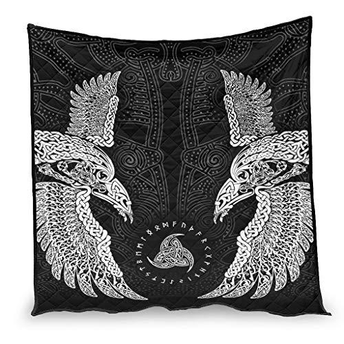Josephion Colcha de verano Viking Ravenue en ultra suave y cálida manta para dormitorio, todas las estaciones, color blanco 200 x 230 cm