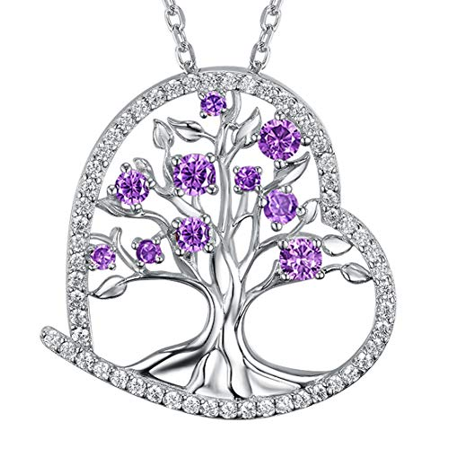 Zavest Mothers Day Birthday Gifts for Women Amethyst Jewellery Gifts Tree of Life Necklace Sterling Silver Jewellery Mum Wife Love Heart Tree Pendant
