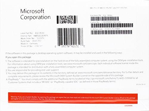 Microsoft Windows 10 Pro - Sistemas operativos (Fabricante de equipos originales (OEM), Full packaged product (FPP), 16 GB, 1 GB, 1 GHz, 800 x 600 Pixeles)