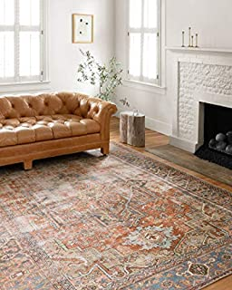 """Loloi Loren Collection Vintage Printed Persian Area Rug 7'-6"""" x 9'-6"""" Terracotta/Sky (B07B53F9DL) 
