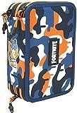 Fortnite astuccio 3 cerniere maxi, pieno di accessori, con scomparti portapenne, portacolori, portapastelli, meo, camo arancione blu