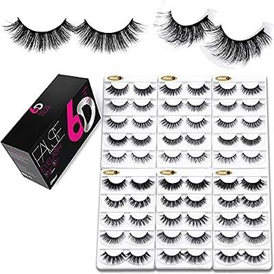 Eliace 50 Pairs 5 Styles Lashes Pack Handmade False Eyelashes Set Professional Fake Eyelashes Pack,Lashes For Women,Eyelashes Natural Look Very Soft and Comfortable,With Free Eyelash Tweezers