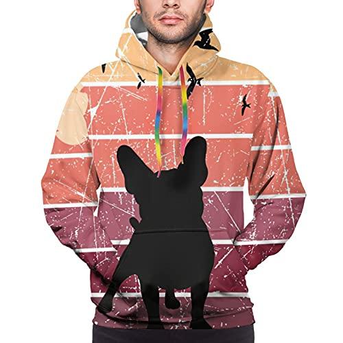 Cartoons Retro French Bulldog Men Pullover Hoodie Classic Sweatshirt 3d Printed Sports Hoodie Hooded Teenager Hoodies Pullover Xx-Large Black