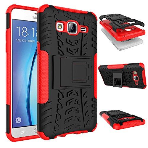 Galaxy On5 Hülle, On5 Hülle, VPR [Fallschutz] [Stand] Premium Dual Layer Stoßdämpfung Anti-Kratzer Armor Defender Schutzhülle mit Ständer für Samsung Galaxy On5, rot