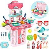 Buyger 3 in 1 Spielküche Kinderküche Zubehör Kochgeschirr Kinder Lebensmittel Küchenspielzeug Gemüse Spielzeug Rollenspiele für Jungen Mädchen