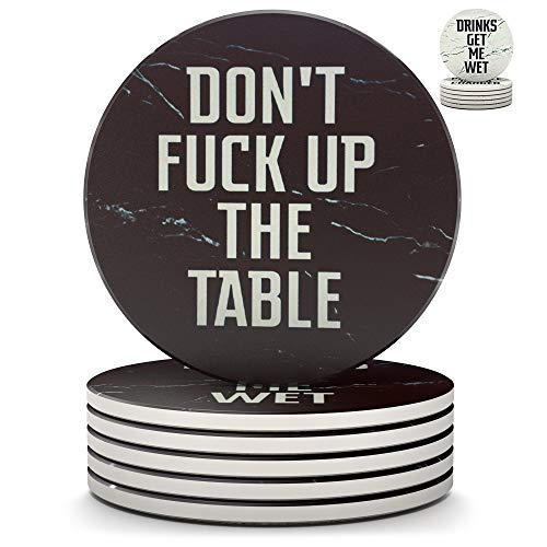 Clever & Funny Coasters for Drinks Absorbent with Holder - 6 Piece Ceramic Black Marble Coaster Set...
