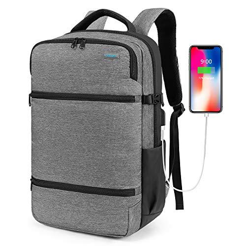 Srotek Multifunctional Travel Backpack 17.3 Inch Laptop Rucksack Bookbag Anti-Theft Daypack with TSA Friendly, USB Charging Port, Casual, Lightweight, for Men/School/Work/Business, Gray