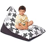 Stuffed Animal Storage Bean Bag - Cover Only - Large Triangle Beanbag Chair for Kids - 150+ Plush Toys Holder - Floor Pillows Organizer for Girls - 100% Cotton Canvas - Hatch Stars