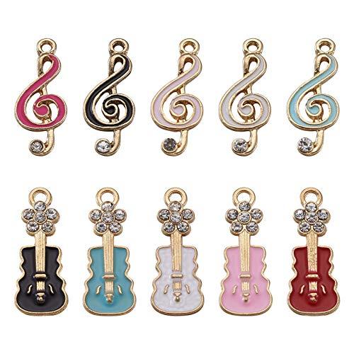 PandaHall - 20 ciondoli a forma di note musicali smaltate per chitarra, con strass placcati oro, per collane fai da te, bracciali, orecchini, artigianato