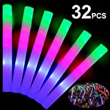 TURNMEON 32 Pcs Giant 16 Inch Foam Glow Sticks Party Supplies Favors, 3 Modes Color Changing Led Light Sticks Glow Batons Glow In The Dark Accessories for Birthday Wedding Concert Halloween