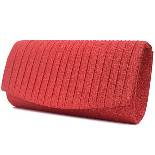 Vain Secrets Damen Abendtasche Clutch Tasche mit Schulterriemen in Satin Strass vielen Farben (23 cm Lang - 11 cm Hoch - 6 cm Breit, Rot)