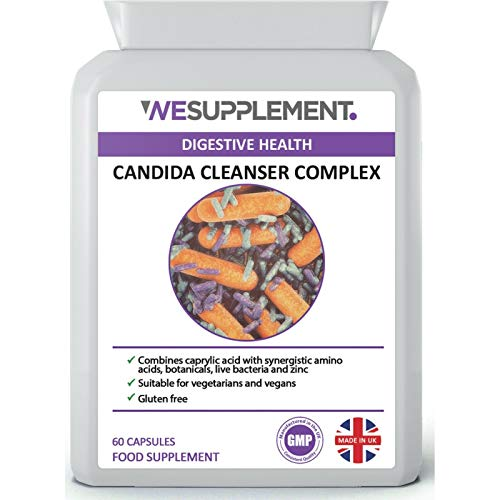 Candida Cleanse Support 60 Vegan Capsules - Thrush Yeast Balance Detox - High Strength - Caprylic Acid Complex with Friendly Bacteria, Botanicals and Zinc - Made in The UK