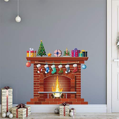 TAOYUE Kerstmis Open Haard Muurstickers DIY Home Decor Woonkamer Sticker muurschildering Slaapkamer Decoratie Kwekerij Behang PVC Poster