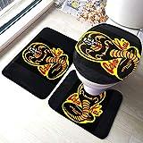 Cobra Kai Karate Dojo Comfort Collections - Juego de alfombrillas de baño para pedestal, alfombrilla de baño, alfombra de baño, antideslizante, alfombrilla de baño de chocolate