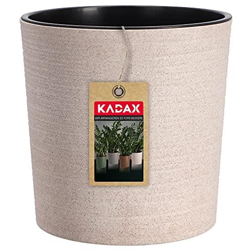 KADAX Blumentopf mit Holzspänen, eleganter Übertopf mit Einlage, Topf, Gartenschale, Blumenkübel, Blumentopfschutz für Wohnzimmer, Büro (⌀ 30cm, Creme)