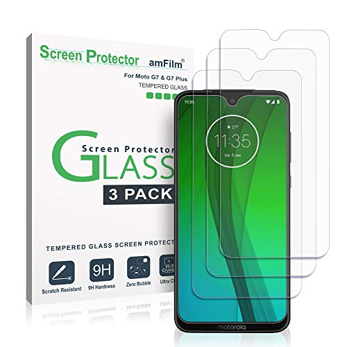 Moto G7 & Moto G7 Plus Panzerglas Schutzfolie (3 Stück), amFilm Glas Bildschirmschutzfolie für Motorola Moto G7 & G7 Plus