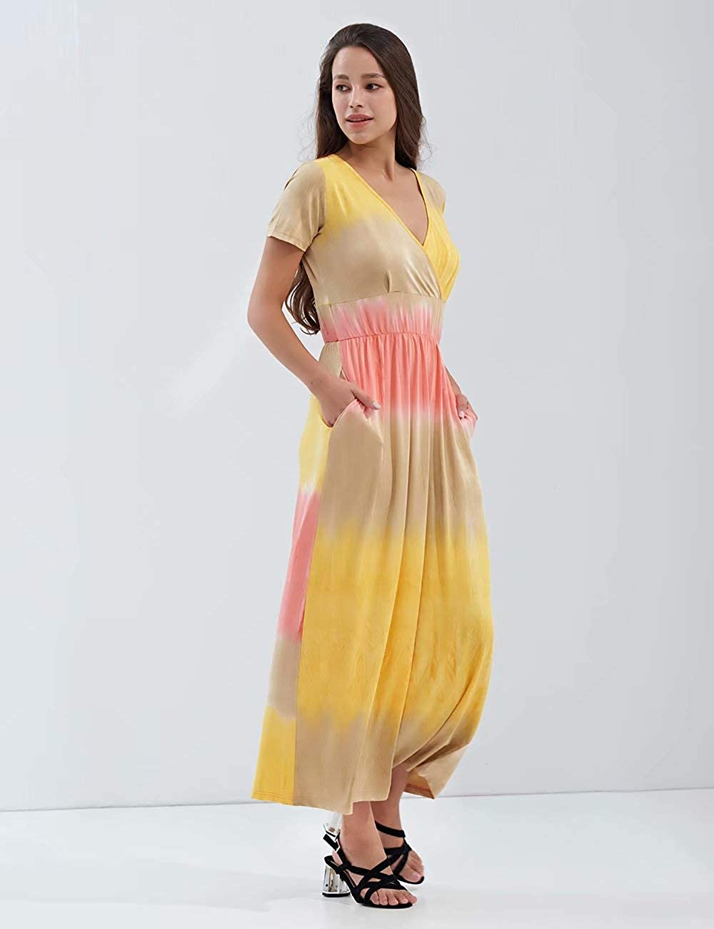 KLY Womens Tie Dye Short Sleee Maxi Dress with Pockets V Neck Wrap Long Dresses
