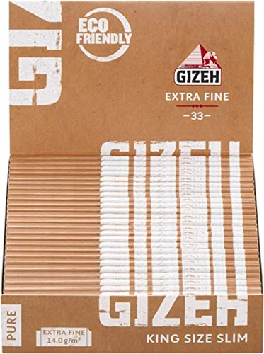 Gizeh Pure King Size Slim - Cartine, 25 x 33 mm, Tipo: Extra Fine