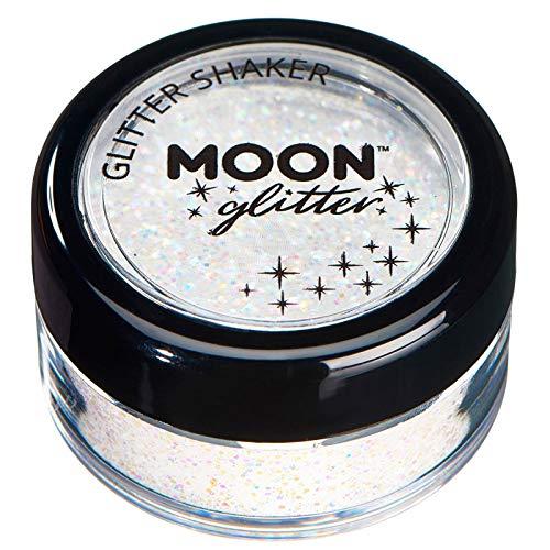 Secoueurs à paillettes pastel par Moon Glitter (Paillette Lune) – 100% de paillettes cosmétique pour le visage, le corps, les ongles, les cheveux et les lèvres - 3g - Blanc