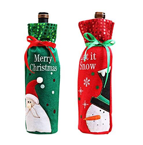Xunlong Bottiglie Di Vino Di Babbo Natale E Pupazzo Di Neve Modello Bottiglia Di Vino Borsa Per Decorazioni Di Natale Tabella Decor (5 Pack)