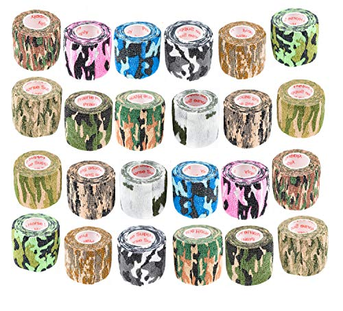 Prairie Horse Supply Vet Wrap Tape Bulk (Assorted Camo Colors) (24 Pack) (2 Inches Wide) Vet Rap Medical First Aid Tape Self Adhesive Adherent for Ankle Wrist Sprains and Swelling
