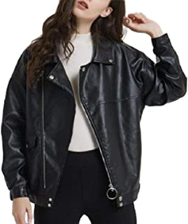 Howely Women's Classic Faux Leather Zip Up Jackets Short Moto Biker Coat