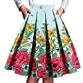 PARTY LADY Women's Vintage Floral Midi Skirt A-line Pleated Skater Skirt Knee-Length(Multi-Colored)