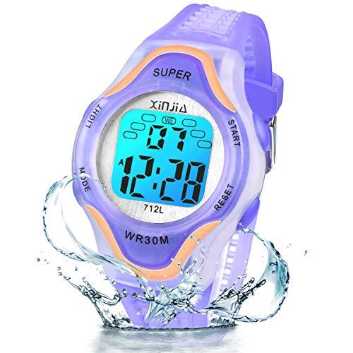 Kinder Digitaluhren, 7 Farben LED-Licht Kinder Sport Armbanduhr Jungen Wasserdicht Kinderuhr mit Alarm Stoppuhr, Kinderuhren Outdoor Armbanduhr für Jungen Mädchen (712L Roségold Lila)