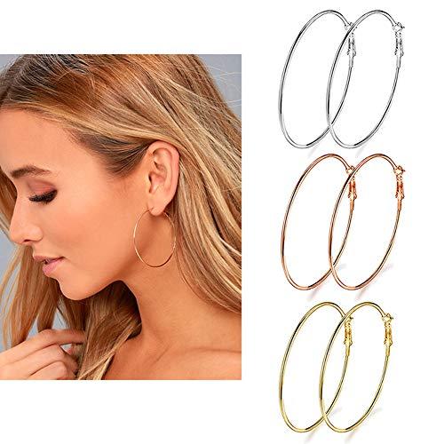 3 Pairs Big Hoop Earrings, Stainless Steel Hoop Earrings in Gold Plated Rose Gold Plated Silver for Women Girls (45mm/ 1.77 Inch)