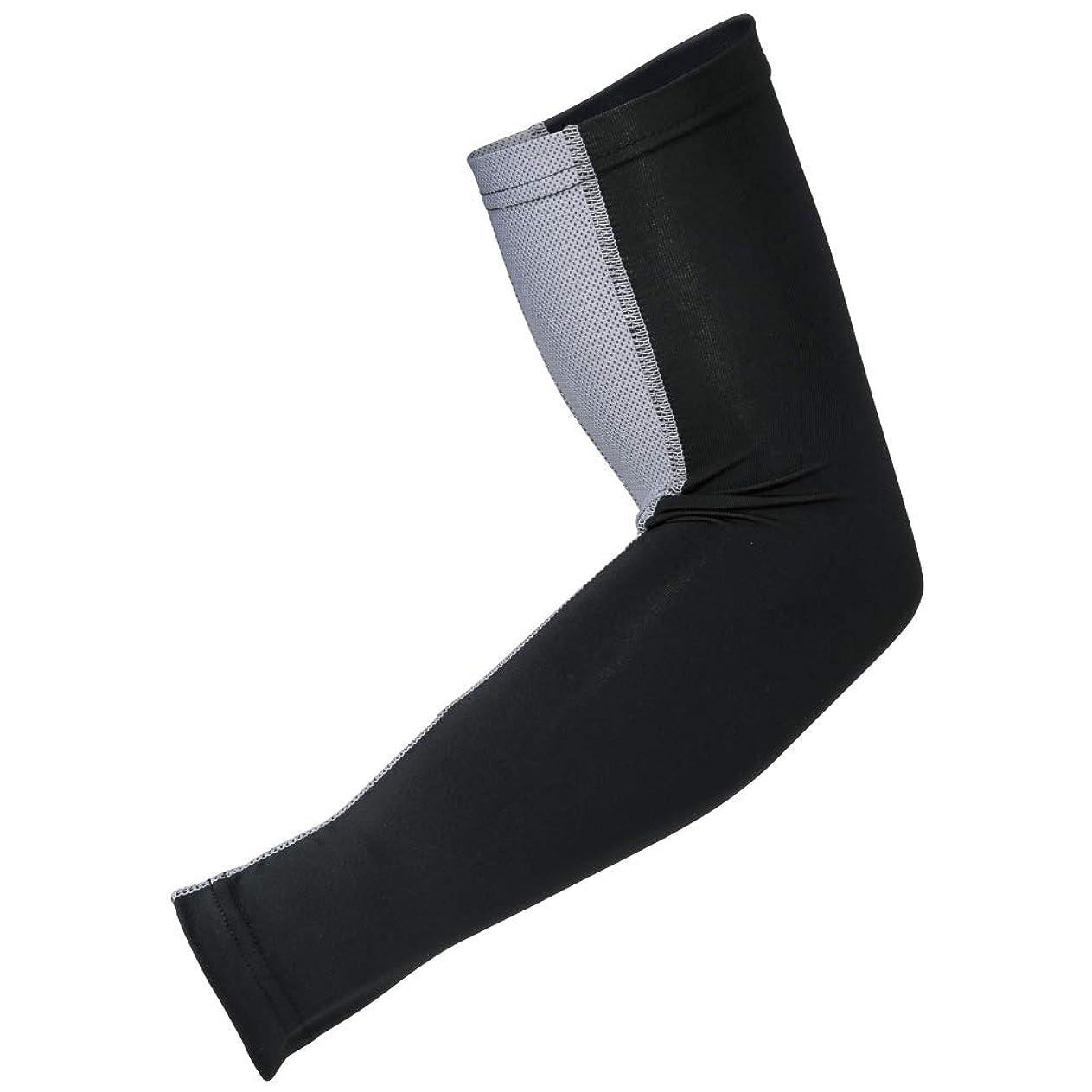 元気化石憂鬱おたふく手袋 ボディータフネス 冷感 パワーストレッチ アームカバー メッシュ JW-619 ブラック×グレー 5双1セット