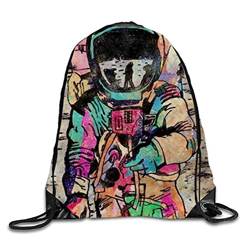 Lawenp Adventure Astronaut Sackpack Mochila con cordón Mochila Impermeable Gymsack Daypack para Hombres Mujeres