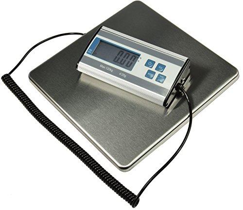 Bilancia digitale per pacchi per spedizioni fino a 120 kg +/-20 g, superficie in acciaio inox, 27 x 27 cm, cavo a spirale 70 – 150 cm, display esterno