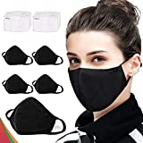 5 Pack Fashion Protective, Washable Reusable Black Cotton Fabric Comfty Breathable Outdoor Fashion Face Shields Protections Man and Woman,【10Pcs】Activated Carbon Filter Replaceable