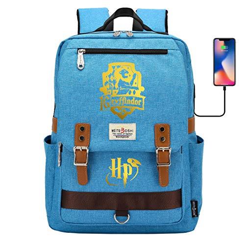 ANCHANG Zaino di Grifondoro, zaino di Harry Magic Potter, borsa per libri stampata dorata alla moda, pacchetto per studenti di grado 7~15 42CMX30CMX16CM Blu
