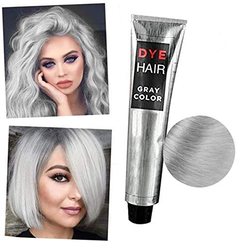 1/2 Pcs Gray Color Natural Permanent Hair Dye Cream Unisex DIY Fashion Gray Silver Color Super Gray Dye Hair Cream 100ml Smoky Gray Punk Style Grey Silver Permanent Hair Dye Color Cream (1pcs)