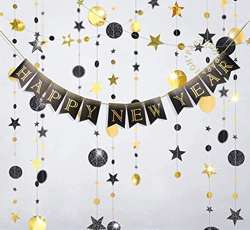 Happy New Year Banner | Black Circle Garland Twinkle Star Paper Hanging Bunting Backdrop for New Year Party Decorations | Black and Gold Banner Sign for New Year's Eve Party Supplies