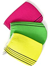 Majik 3Pcs Korean Exfoliating Bath Washcloth - An Exfoliation for Removing Dry, Dead Skin Cells, Cleaning Pores and Reducing Acne Breakouts, Reusable