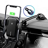 Wireless Car Charger, MOKPR Intelligent Auto Clamping Car Mount, Qi Fast Charging Dashboard Car Phone Mount with QC 3.0 Car Charger Compatible with iPhone 13 12 11 X Series, Galaxy Note/S21/20, Pixel
