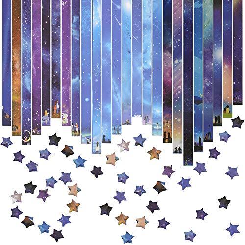 EMAGEREN Origami Papier 816 Blatt Papierstreifen zum Basteln Sternenhimmel Muster Origami-Sterne-Papier Sternenhimmel Stern Papier Set Origami Star Papierstreifen Glücksstern Papier für DIY Handwerk