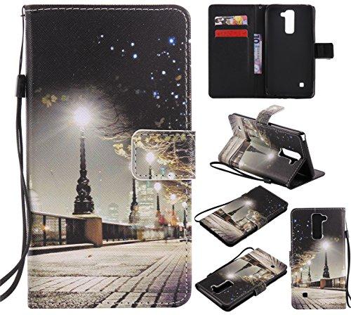 Nancen Compatible with LG G Stylo 2 / LG Stylus 2 / LG Stylus 2 Plus LS775 K520 (5,7 Zoll) Hülle/Handyhülle, Zwei Kartenfächer & Eine Brieftasche Etui [Nacht]