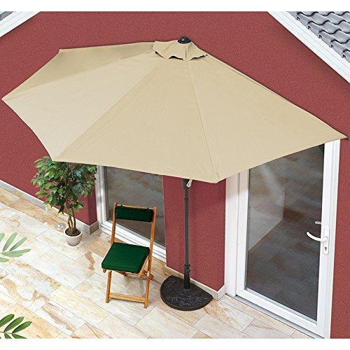 EASYmaxx Sonnenschirm 'Balkon/Terasse halbrund' | Lässt sich passgenau an der Wand platzieren | Mit praktischer Handkurbel, UV-Schutz 40+ | 270 x 140 cm [Sommerliches Beige]