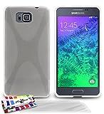 MUZZANO F840880 - Funda para Samsung Galaxy Alpha, Incluye 3 Protecciones de Pantalla, Transparente