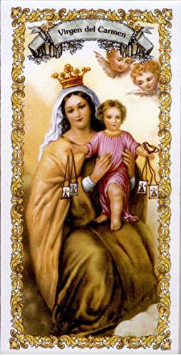 Virgen del Carmen. Azulejo fabricado artesanalmente para decorar. Cerámica para colgar. Calca cerámica (14x28 cms)