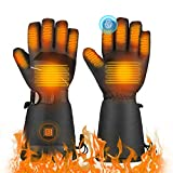 TXDUE Heated Gloves, 3 Heating Levels, Rechargeable Battery, Up to 8hrs Warmth, Waterproof Breathable Winter Gloves, Touchscreen Ski Motorcycle Hiking Cycling Gloves for Men and Women