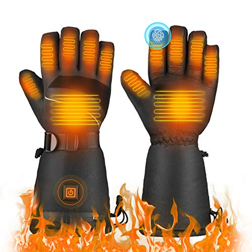 TXDUE Heated Gloves, 3 Heating Levels, 7.4V 3000mAh Rechargeable Battery, Up to 8hrs Warmth, Waterproof Breathable Winter Gloves, Touchscreen Ski Motorcycle Hiking Cycling Gloves for Men and Women