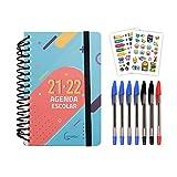 MP - Agenda 2021 2022 Día por Página, Agenda Escolar 2021-2022, Septiembre 2021-Junio 2022, 10 meses, Material Escolar Bonito, Inlcuye 7 Bolígrafos y Pegatinas, Cuadernos Bonitos Regalos Originales