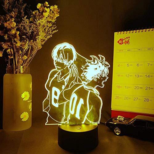 3D Illusion LED Lampe für Kinder Hinata Shoyo Kageyama Tobio Figur 3D Anime Lampe Haikyuu Comic Nacht LED Sensor Licht Schlafzimmer Bett.