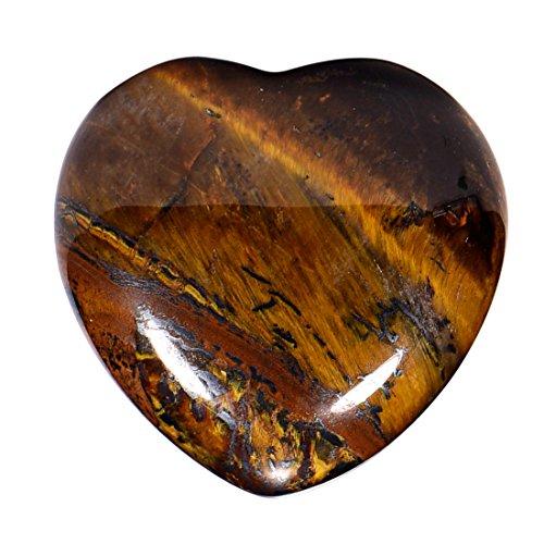 Morella Portafortuna a forma di cuore gemma pietre preziose Occhio di tigre 3 cm in un sacchetto di velluto